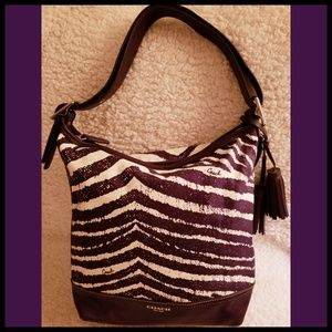 Coach*Rare Zebra Hobo Purse